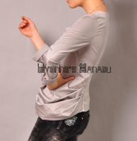 Grey Cotton Pleated Blouse 7 by yystudio