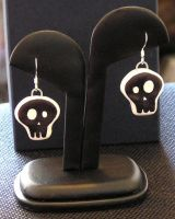 Polymer Skull Earrings by lavadragon