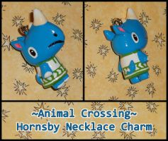 Animal Crossing - Hornsby Rhino Necklace Charm by YellerCrakka