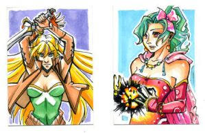 Sketch Card Terra and Celes by glance-reviver