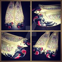 Hand Painted Swallow Shoes by Vicki-Death