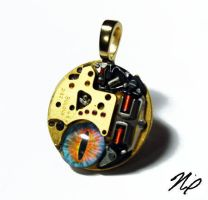 Ghost in the Machine Altered Art Pendant by Create-A-Pendant