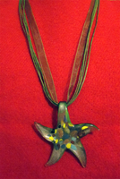 Olive Starfish Ribbon Necklace by BloodRed-Orchid