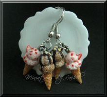 Double Scoop Ice Cream Earring by ToothFairyMiniatures