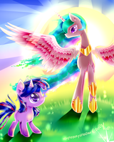 (MLP) My Sun Twilight and Celestia (MLP) by AquaGalaxy