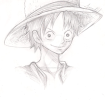 luffy- drawing by thelucasrbp