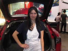 My friend Hope at the TESLA car shop by mylesterlucky7