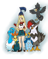 Trainer Kendra and her Team by PlatinaSena