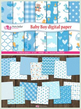 Baby Boy digital paper by PolpoDesign