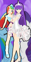 MMD Rarity And RainbowDash by RinXNeruXD