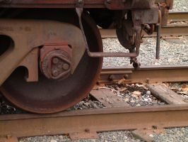 Train yard 6 - rail and wheel by JensStockCollection