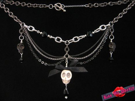 Kiss Me Deadly- black chain and skull necklace by SoulboundDesigns