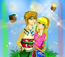 Link and Zelda by CandiiGurll