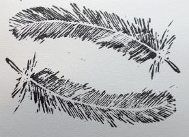 Feather monoprint by MongooseDog-