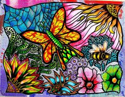 Butterfly Zentangles by Eiuol7