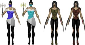 Sarah and Lilly redesign + alt colours and weapons by Simony17y