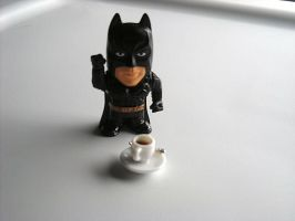 Batman has his Morning Coffee by willowdiamond