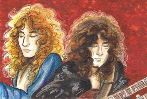 Postcard cartoons 8 - Robert Plant and Jimmy Page by cozywelton