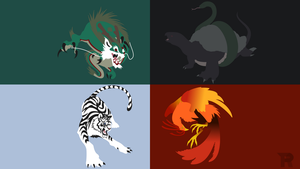 [Commission] Four Celestials Minimalist by turpinator77