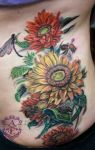 Sunflower with Bees Tattoo done by Sean Ambrose by seanspoison