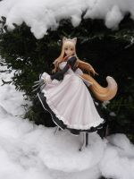 Foxgirl in the snow by AardbeiElfje