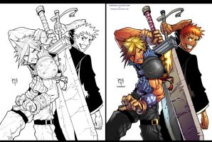 Cloud Vs Ichigo progress by madmagnus