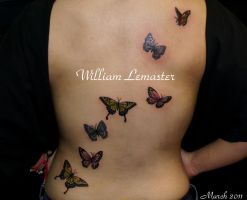 Back- Butterflies - by William by SmilinPirateTattoo