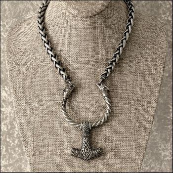 Snarling Wolves Mjolnir on Wolf Torque Chain by GoodSpiritWolf