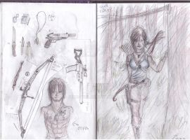 sketch7 and lara croft and my stiven and equipment by John-Will