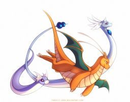 Dragonite Dragonair and Dratini by francis-john