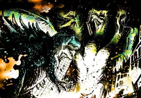 Godzilla vs. King Ghidorah by tuomaskoivurinne