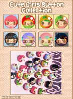 Cute Girls Button Collection by Minty-Kitty-Art