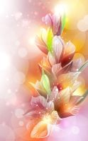Pink-Flowers-with-Colorful-Background by vectorbackgrounds