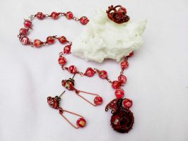Millefiori glass ring earring and necklace by Mirtus63