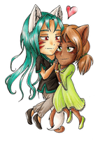 Commission - Chibi Orion et Azalee by CaelaSephyra
