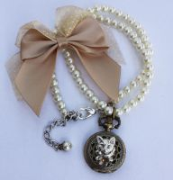 Kitty face pocket watch necklace by Pinkabsinthe