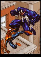 Lakcoo2u's Spidey vs Venom by blackpoint