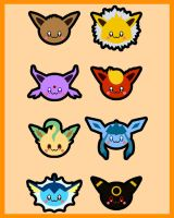 Eevee Evolutions Sticker Set by hallatt