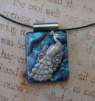 Blue Peacock Strut Fused Glass by FusedElegance