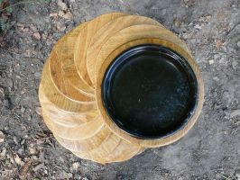 Oak spiral bird bath by arbortechuser