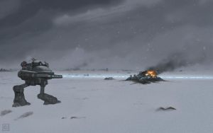 Giant Robots in Snow by icekatze