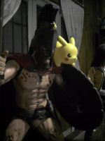 King Leonidas 300 and Pikachu by GustavoChoves