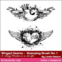 Photoshop Brushes Free crowned winged hearts by pixelberrypie
