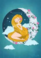 Girl on the Moon by lauramiclea