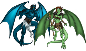 Gargoyles by honeyroastedferrets