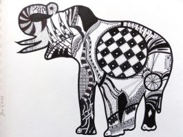 Zentangle Elephant by squonk67