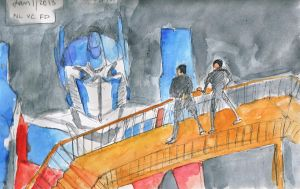 MIB and Optimus Prime by Vampiric-Conure