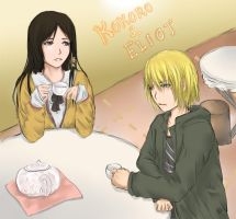 Kokoro and Eliot at Table by HappyGift