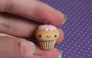 Happy Cupcake Clay Charm for Sale! by RawrRufus