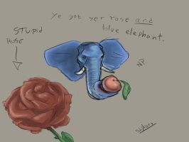 Blue elephant and a red rose by ShikaruOC